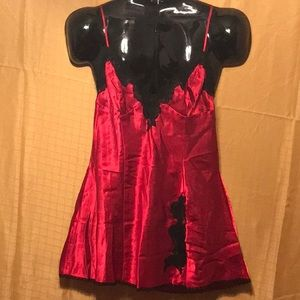 FREDERICK'S OF HOLLYWOOD Red/Black Babydoll, Sz L